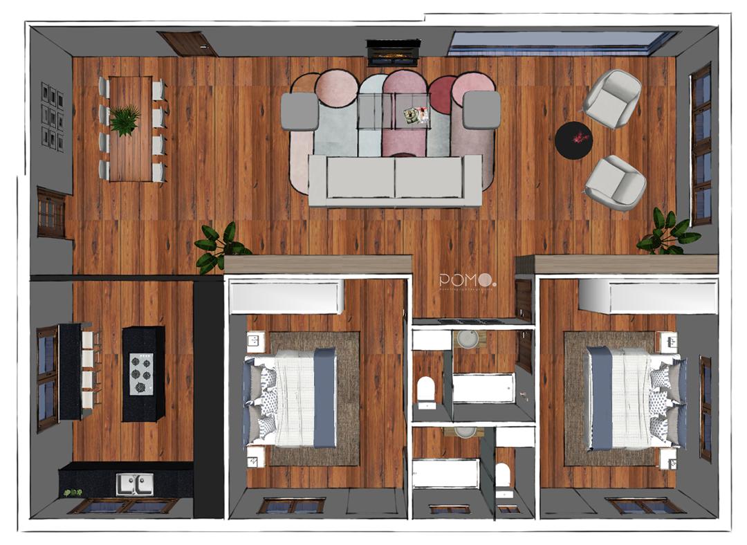 POMO. Home Staging & Design Studio. Casa Rural en Arzúa, A Coruña. Planta de distribución amueblada