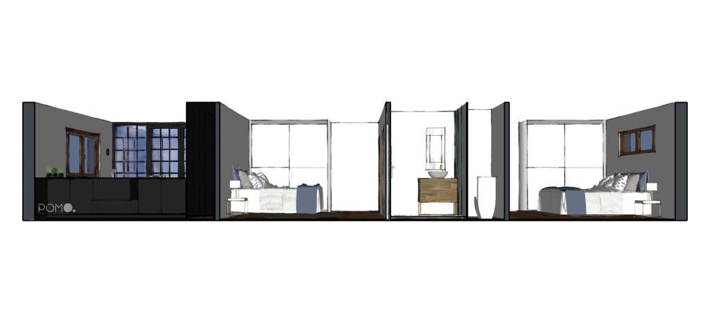POMO. Home Staging & Design Studio. Casa Rural. Arzúa, A Coruña. Perspectiva dormitorios