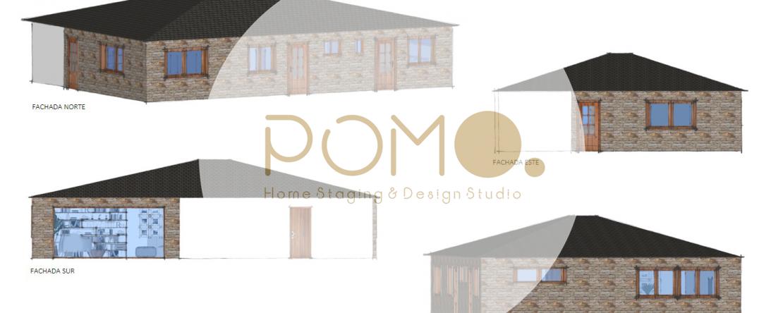 POMO. Home Staging & Design Studio. Casa Rural. Arzúa, A Coruña. Perspectivas fachada