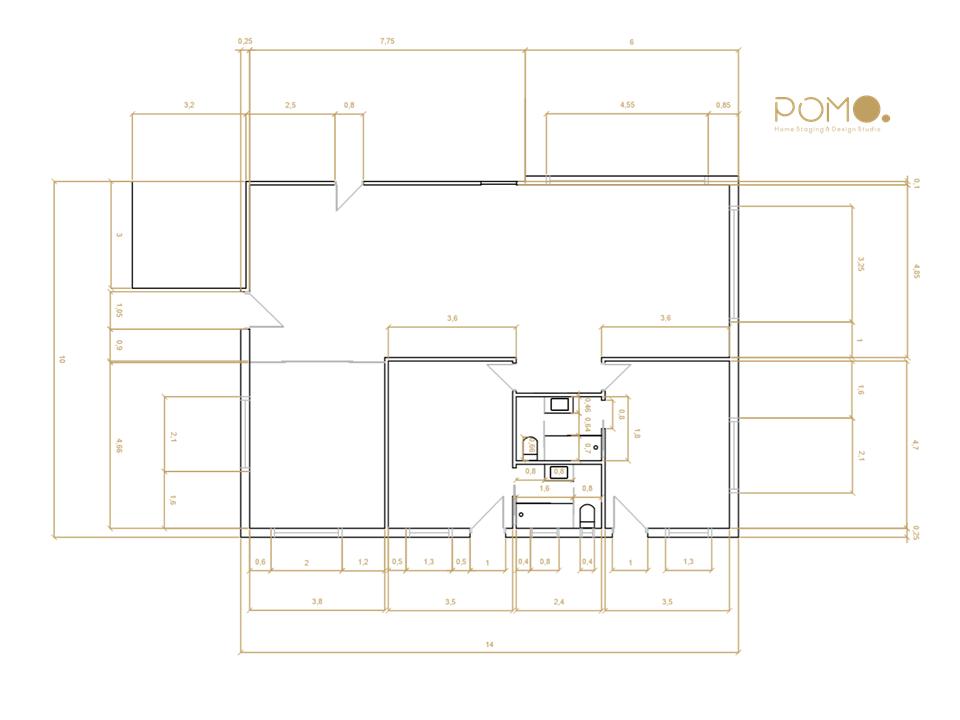 POMO. Home Staging & Design Studio. Casa Rural. Arzúa, A Coruña. Plano acotado 2D