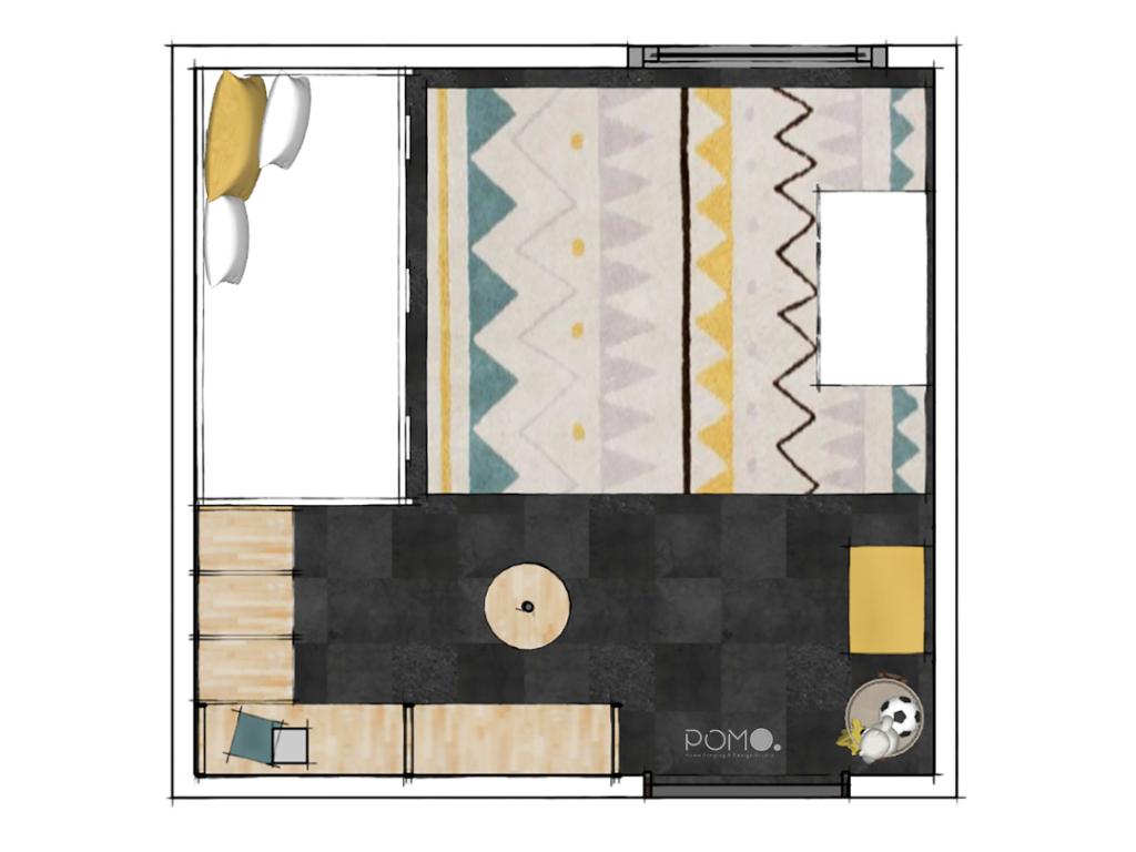 POMO. Home Staging and Design. Proyecto ZONO. Diseño de habitación de juegos infantil en Madrid. Planta de distribución