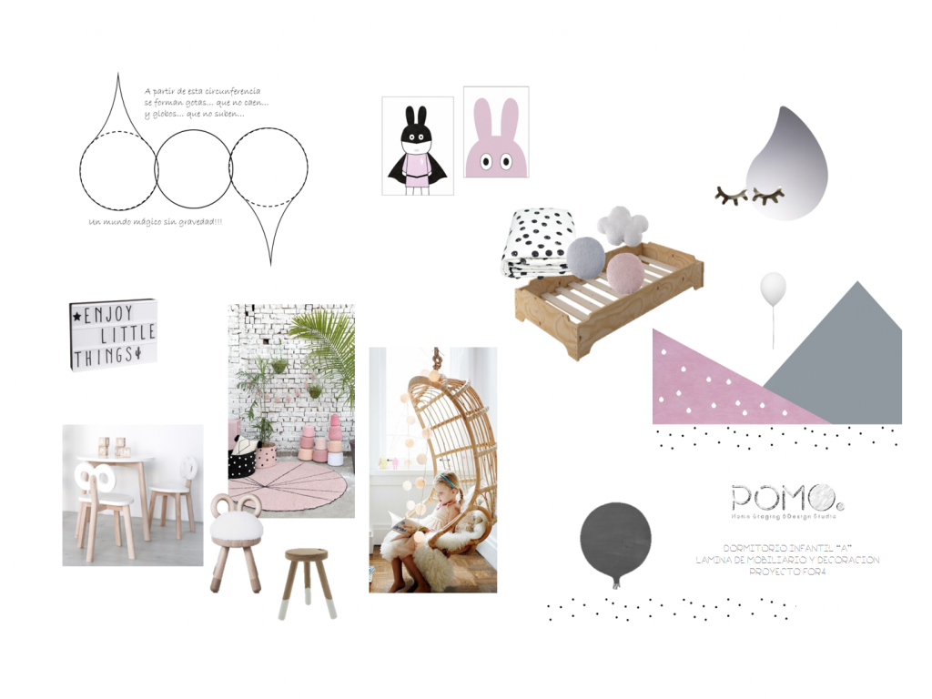 POMO. Home Staging and Design. Proyecto online FOR4. Diseño de dormitorio infantil A. Lámina estilo