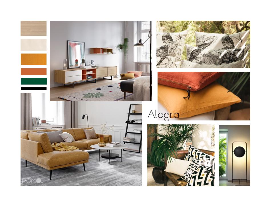 POMO. Home Staging and Design. Proyecto online H58. Diseño Salón en Hortaleza, Madrid. Lámina de estilo Alegra