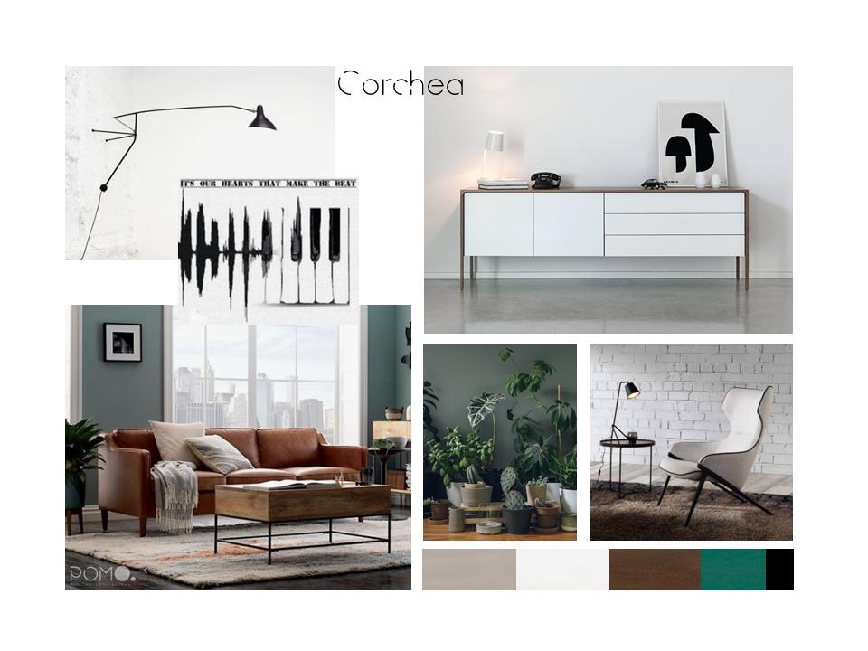 POMO. Home Staging and Design. Proyecto online H58. Diseño Salón en Hortaleza, Madrid. Lámina de estilo Corchea