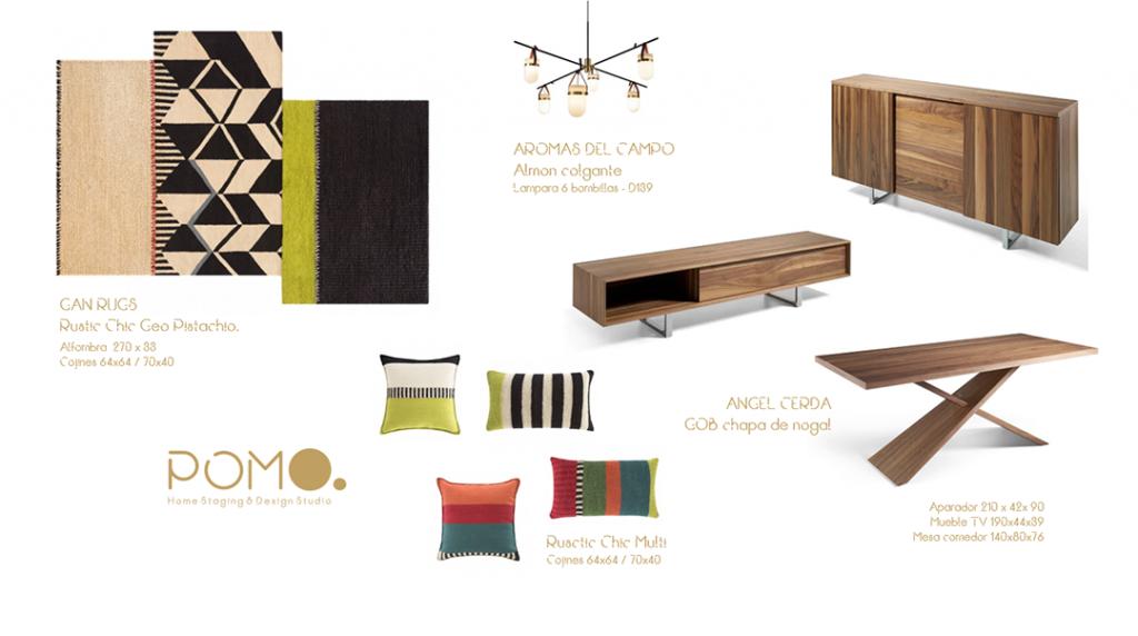 POMO. Home Staging and Design. Proyecto online H58. Diseño Salón en Hortaleza, Madrid. Lámina mobiliario