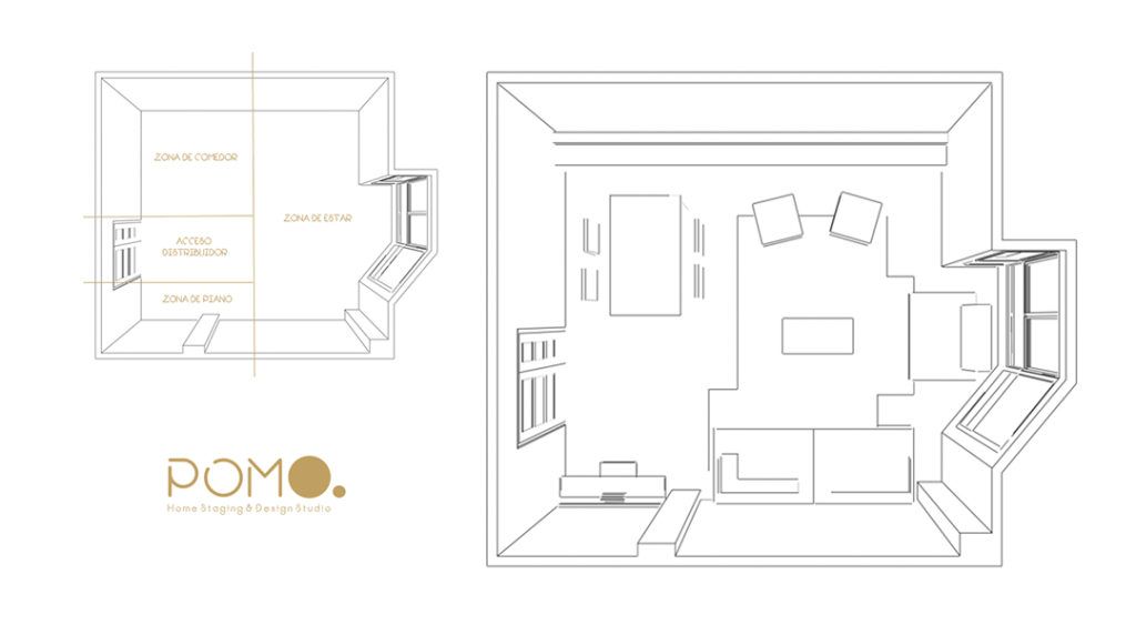 POMO. Home Staging and Design. Proyecto online H58. Diseño Salón en Hortaleza, Madrid. Planta Distribución 2D