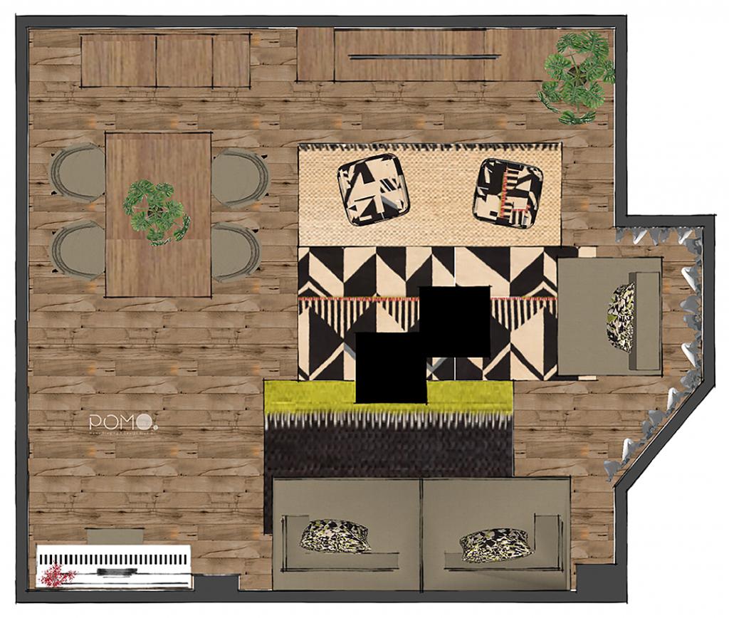 POMO. Home Staging and Design. Proyecto online H58. Diseño Salón en Hortaleza, Madrid. Planta Distribución amueblada