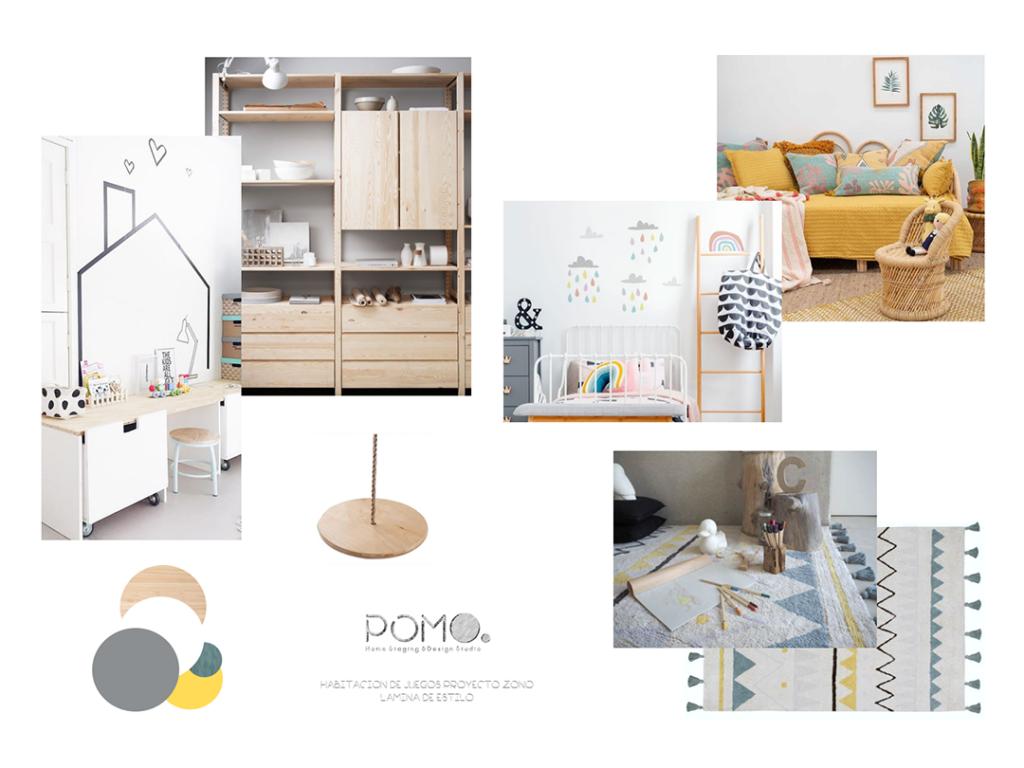 POMO. Home Staging and Design. Proyecto online ZONO. Diseño de habitación de juegos infantil en Madrid. MoodBoard Lámina estilo