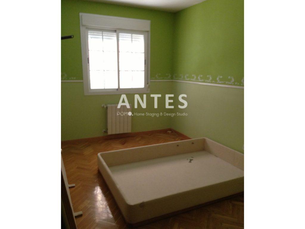 POMO. Home Staging en dormitorio principal en Príncipe Pío, Madrid. ANTES