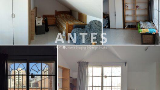 POMO. Home Staging en vivienda adosada en Loranca, Madrid. Dormitorio doble abuhardillado. ANTES