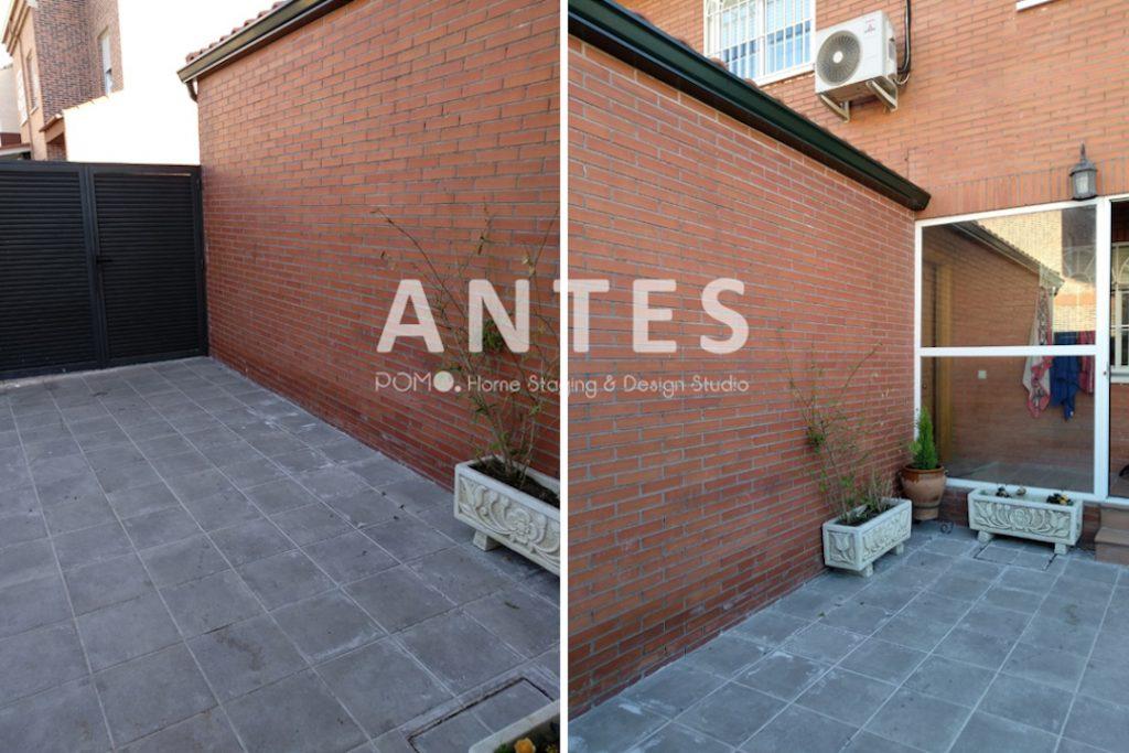 POMO. Home Staging en vivienda adosada en Loranca, Madrid. Zona de acceso. ANTES