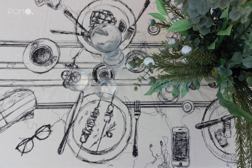 POMO. Home Staging en vivienda adosada en Loranca, Madrid. Zona de acceso. Detalle mantel