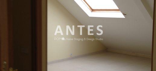 POMO. Home Staging en vivienda vacía en Móstoles, Madrid. Comedor abuhardillado. ANTES
