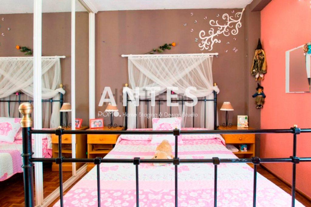Home Staging en vivienda amueblada en Móstoles, Madrid. Dormitorio principal. ANTES