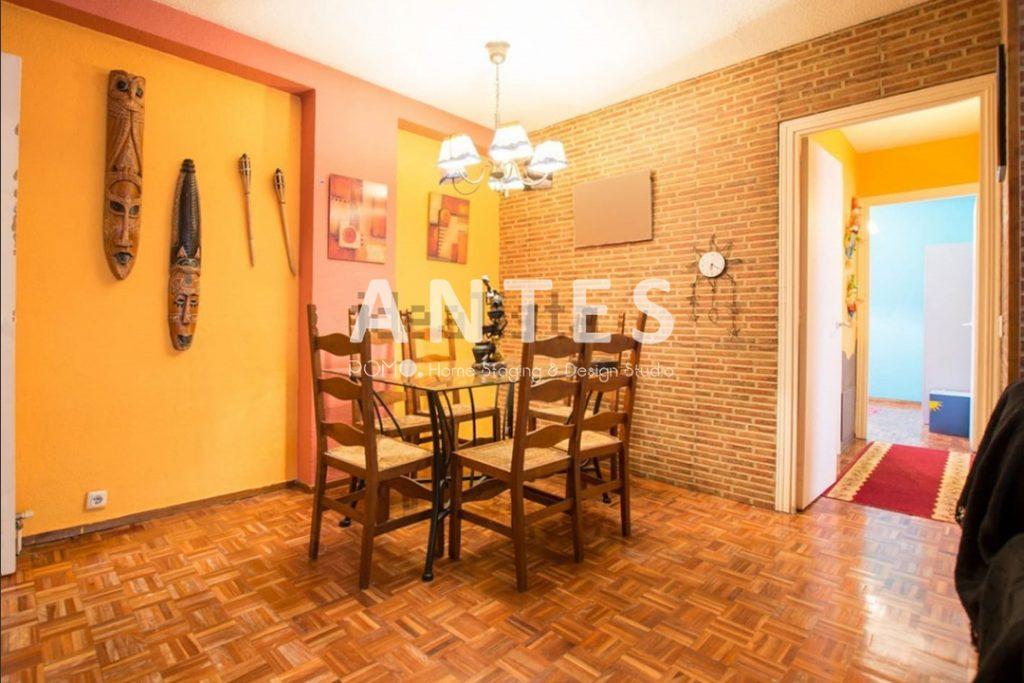 Home Staging en vivienda amueblada en Móstoles, Madrid. Comedor. ANTES