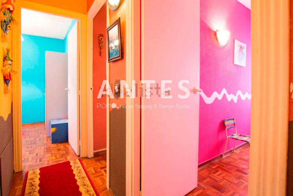 Home Staging en vivienda amueblada en Móstoles, Madrid. Pasillo distribuidor. ANTES