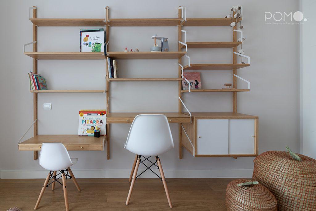 POMO. Home Staging & Design Studio. Habitación juegos & Estudio. Proyecto Zuazo, Madrid. Habitación de juegos. Zona de trabajo