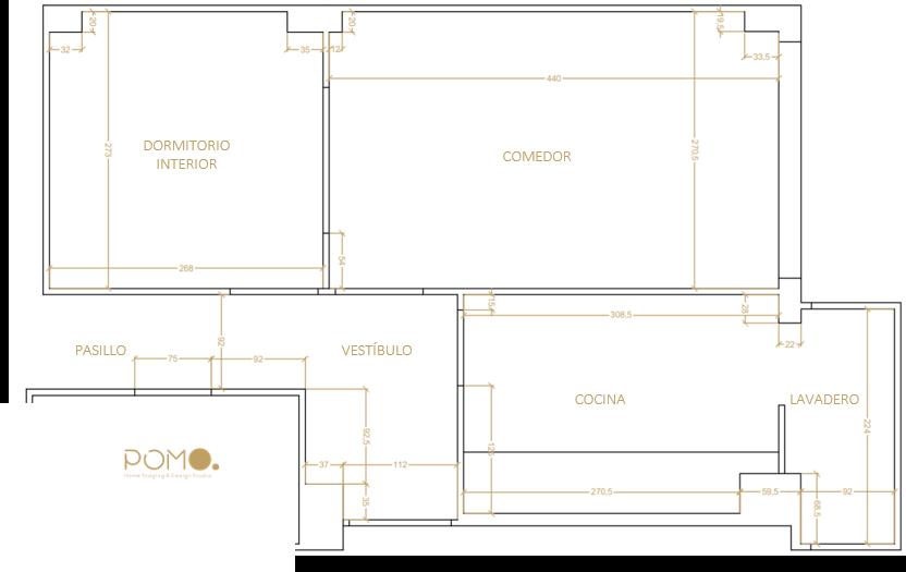 POMO. Home Staging & Design Studio. Proyecto Decoración Interiores Cubela, A Coruña. Estado Actual. Plano acotado