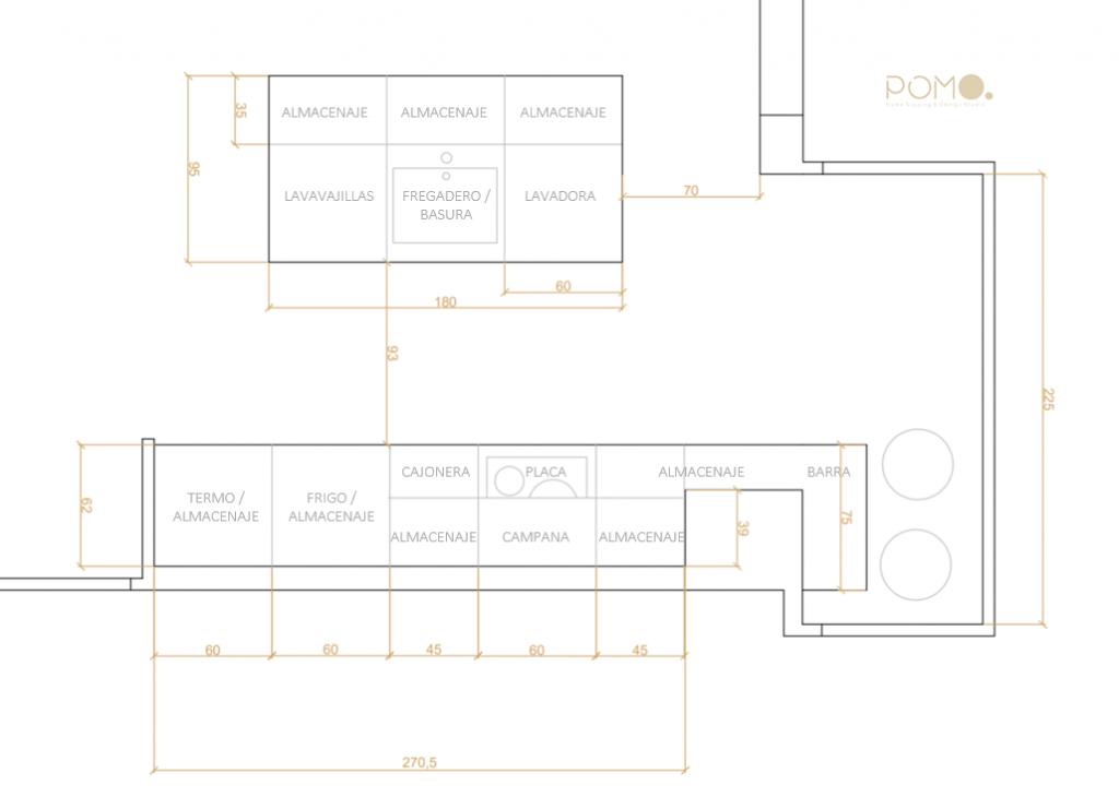 POMO. Home Staging & Design Studio. Proyecto Decoración Interiores Cubela, A Coruña. Estado Proyectado. Cocina2D