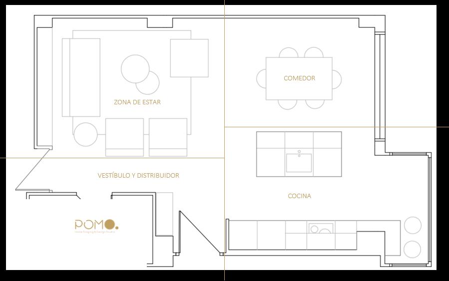 POMO. Home Staging & Design Studio. Proyecto Decoración Interiores Cubela, A Coruña. Estado Proyectado. Plano 2D