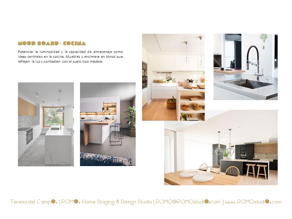 POMO. Home Staging & Design Studio. Proyecto Decoración Interiores Cubela, A Coruña. Mood Board Cocina