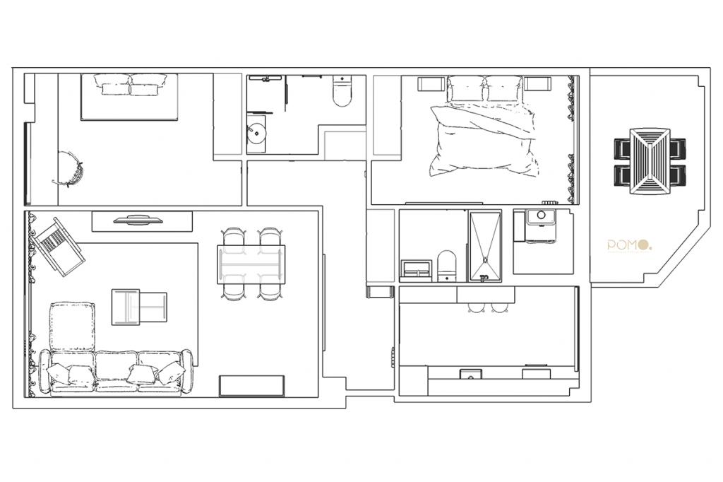 POMO. Home Staging & Design Studio. Proyecto Diseño Interiores Arca de Agua. Distribución Final Amueblada