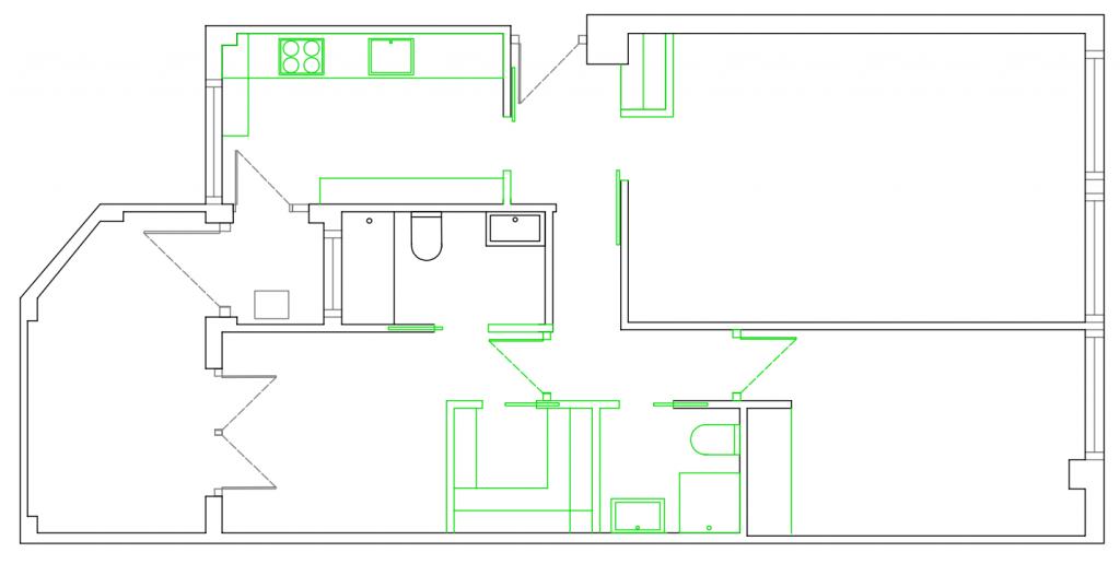 POMO. Home Staging & Design Studio. Proyecto Diseño Interiores Arca de Agua. Distribución Opción A