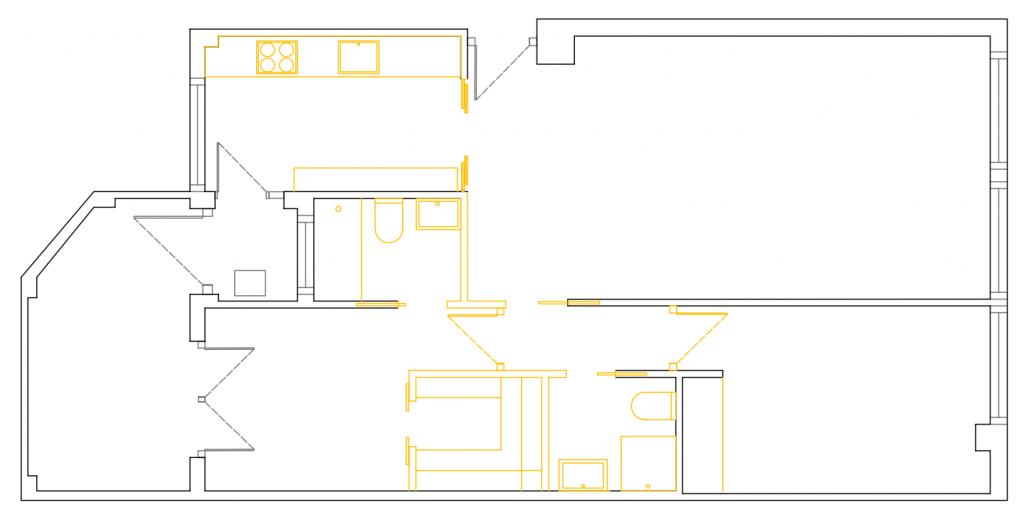 POMO. Home Staging & Design Studio. Proyecto Diseño Interiores Arca de Agua. Distribución Opción C
