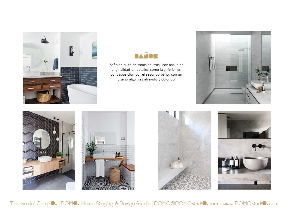 POMO. Home Staging & Design Studio. Proyecto Diseño Interiores Arca de Agua. Mood Board Baños