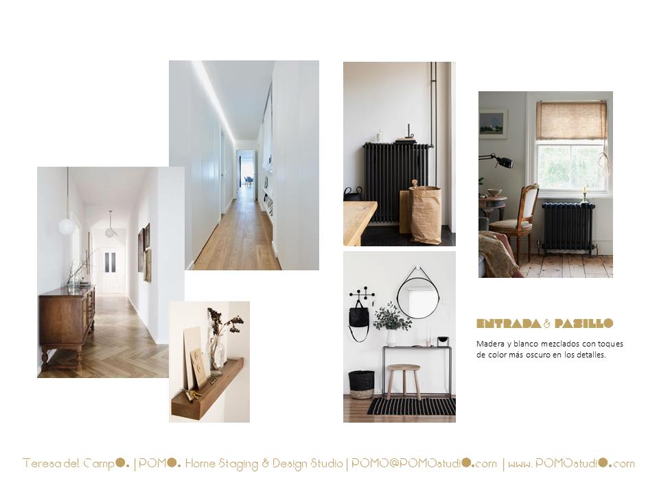 POMO. Home Staging & Design Studio. Proyecto Diseño Interiores Arca de Agua. Mood Board zonas de paso