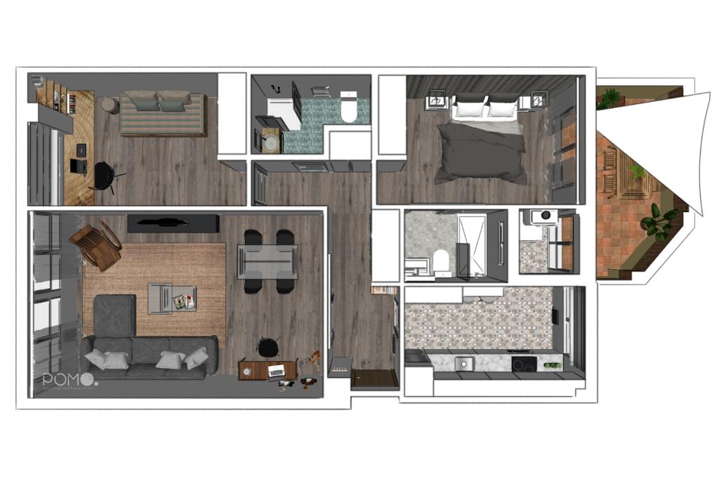 POMO. Home Staging & Design Studio. Proyecto Diseño Interiores Arca de Agua. Plano 3D